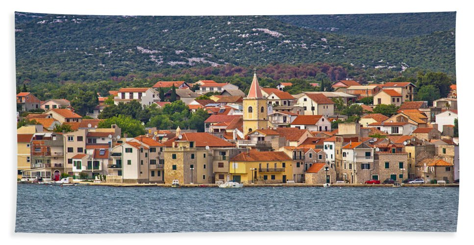Croatia Hand Towel featuring the photograph Adriatic Town Of Pirovac Waterfront by Brch Photography