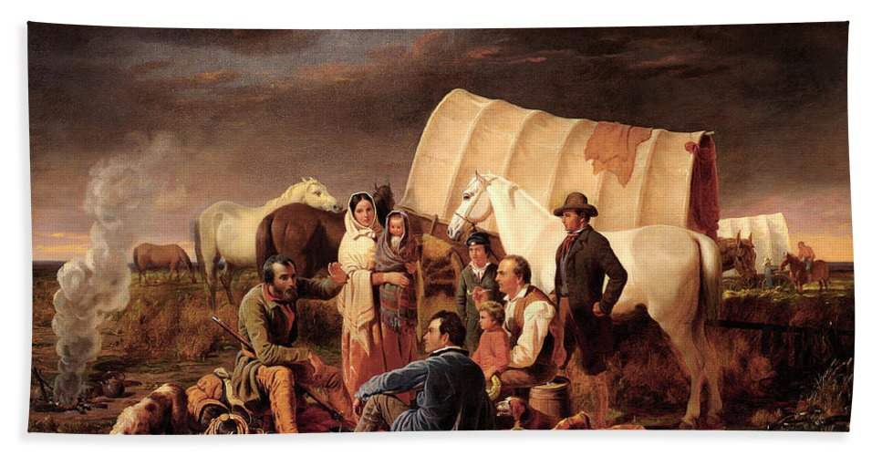 Advice On The Prairie Hand Towel featuring the digital art Advice On The Prairie by Wiliam Tylee Ranney
