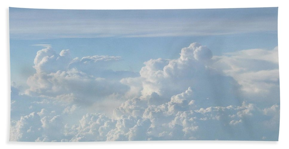 Skyscape Clouds Photographs Canvas Prints Blue Sky Aerial Formation High Elevation Turbulance Altitude Skyscape Prints Cloudscape Posters Blue Skies Hand Towel featuring the photograph Aerial Formation by Joshua Bales