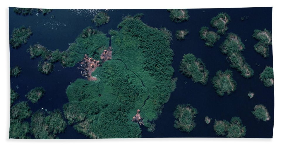 Aerial Hand Towel featuring the photograph Aerial Of Small Island Village, Uganda by Robert Caputo