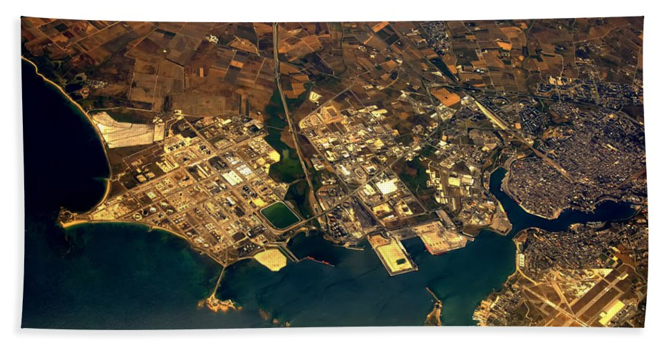 Aerial Hand Towel featuring the photograph Aerial Photography - Coast by Justyna JBJart