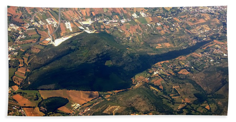 Aerial Hand Towel featuring the photograph Aerial Photography - Hill Like A Big Mouse by Justyna JBJart