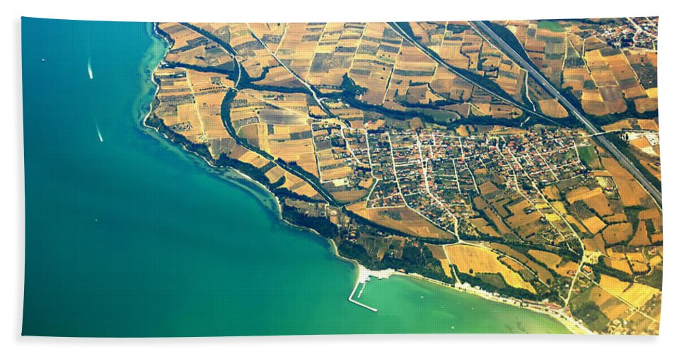 Aerial Hand Towel featuring the photograph Aerial Photography - Italy Coast by Justyna JBJart