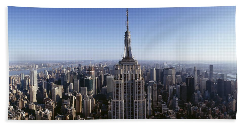 Photography Bath Towel featuring the photograph Aerial View Of A Cityscape, Empire by Panoramic Images