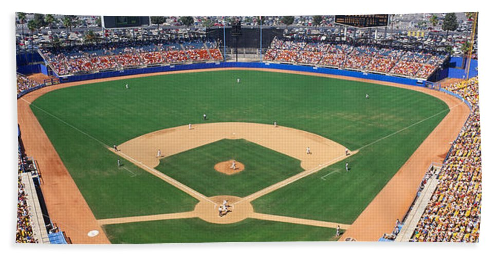 Photography Hand Towel featuring the photograph Aerial View Of A Stadium, Dodger by Panoramic Images