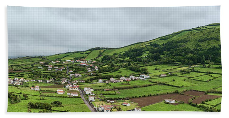 Photography Bath Towel featuring the photograph Aerial View Of Houses In A Village by Panoramic Images
