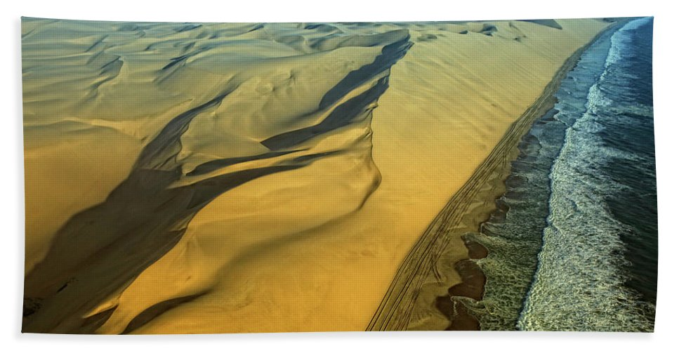 Desert Hand Towel featuring the photograph Aerial View Of Skelton Coast, Namib by David Santiago Garcia