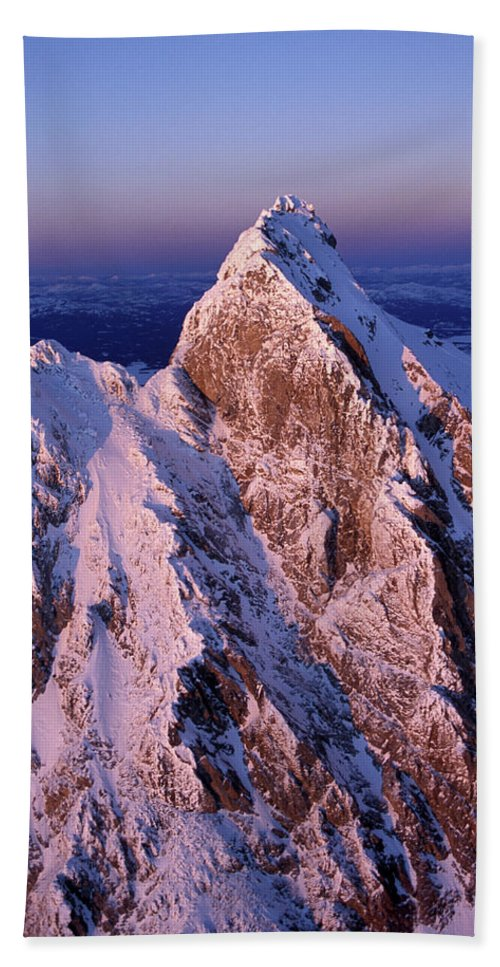Aerial Hand Towel featuring the photograph Aerial View Of The Grand Teton by David Stubbs
