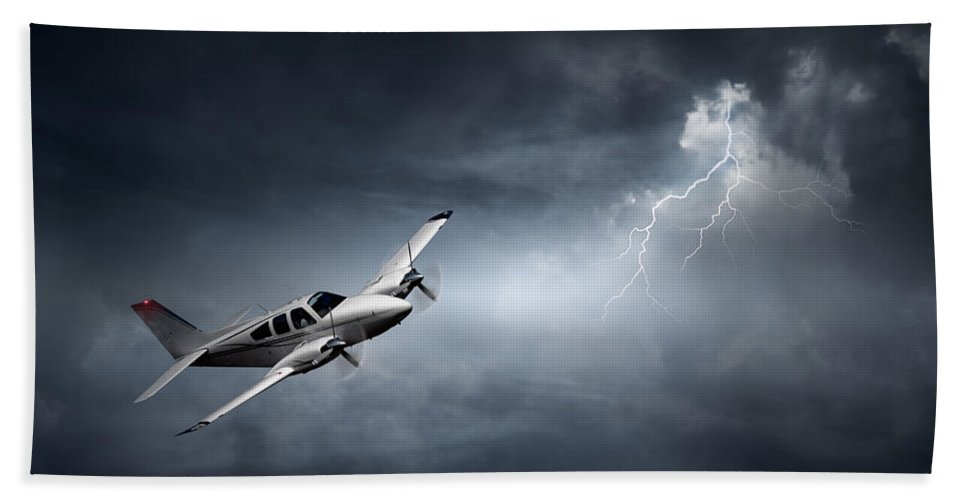 Aeroplane Bath Towel featuring the photograph Risk - Aeroplane In Thunderstorm by Johan Swanepoel
