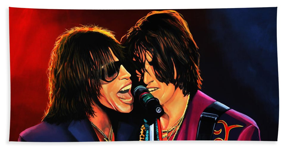 Steven Tyler Hand Towel featuring the painting Aerosmith Toxic Twins Painting by Paul Meijering