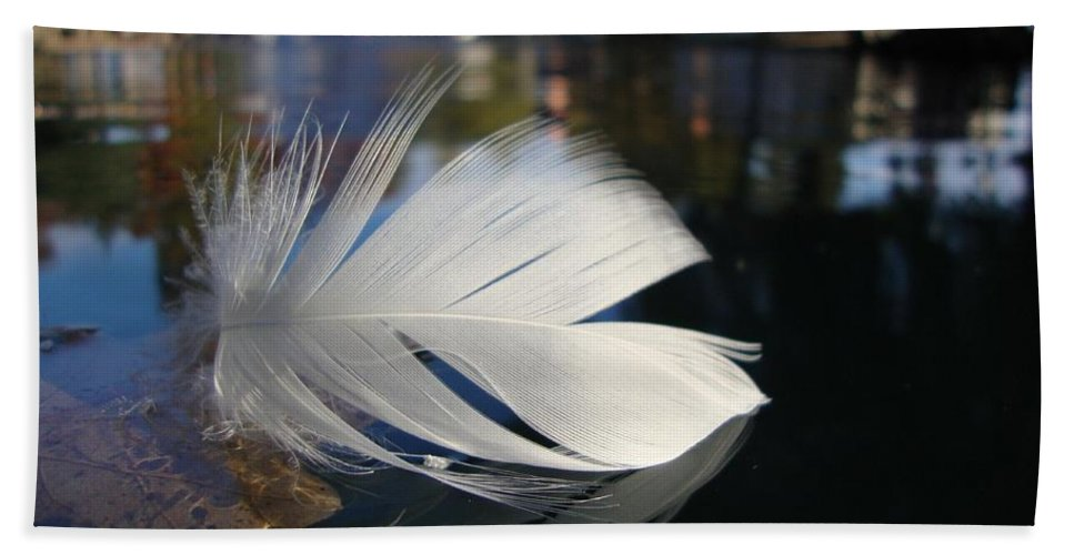Feather Hand Towel featuring the photograph Afloat by Annie Adkins