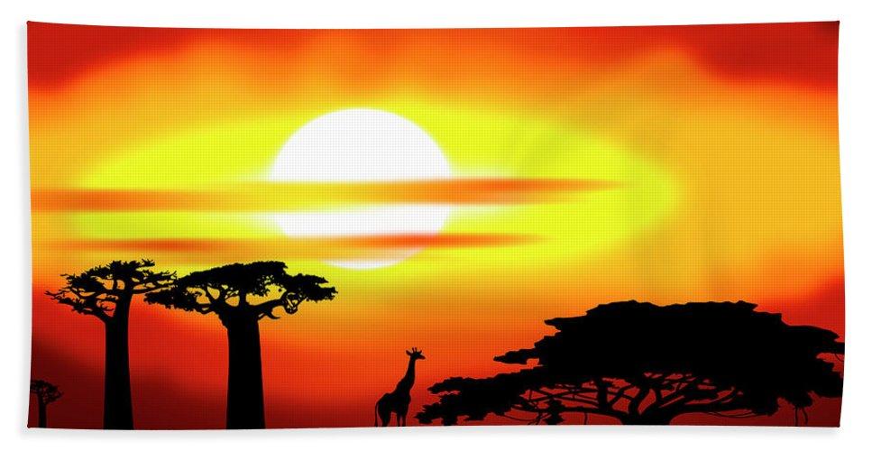Africa Bath Sheet featuring the digital art Africa Sunset by Michal Boubin