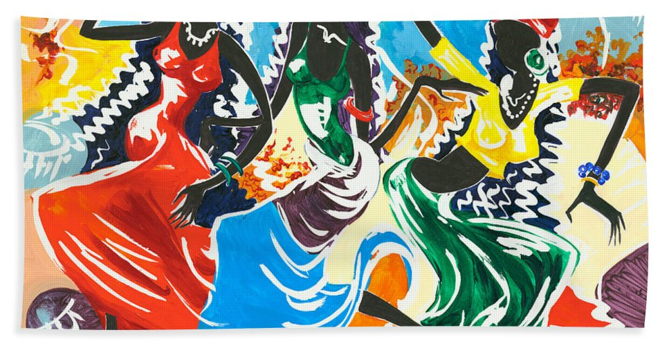 Canvas Prints Bath Towel featuring the painting African Dancers No. 2 by Elisabeta Hermann