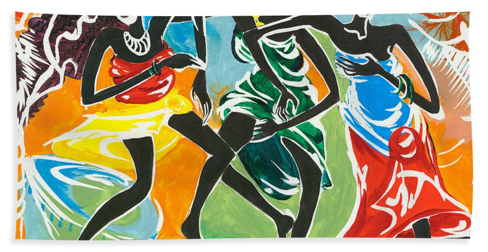 African Hand Towel featuring the painting African Dancers No. 3 by Elisabeta Hermann