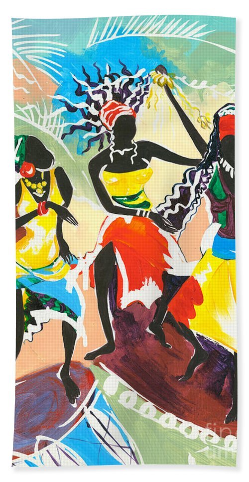 Paintings Hand Towel featuring the painting African Dancers No. 4 by Elisabeta Hermann