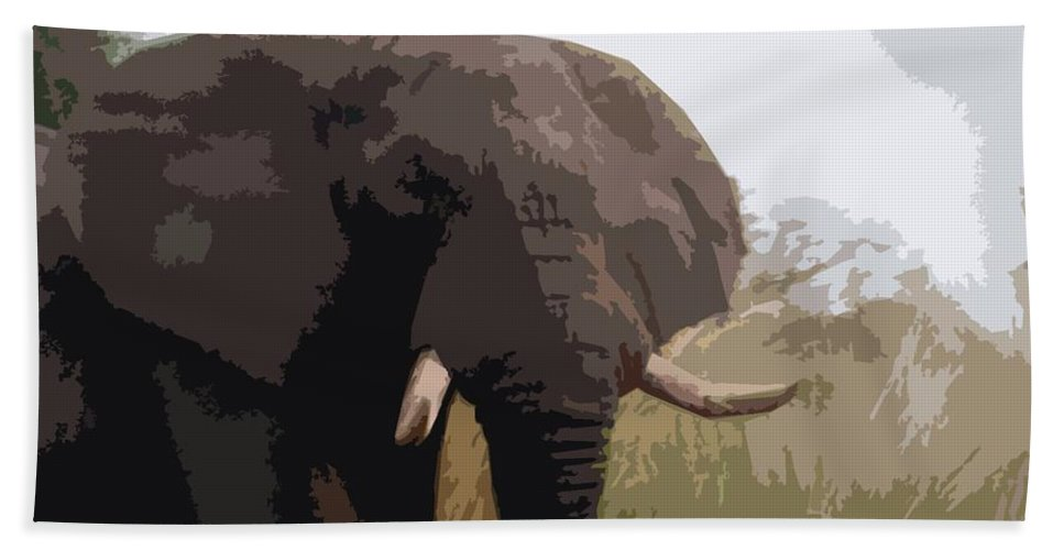Africa Hand Towel featuring the painting African Elephant by George Pedro