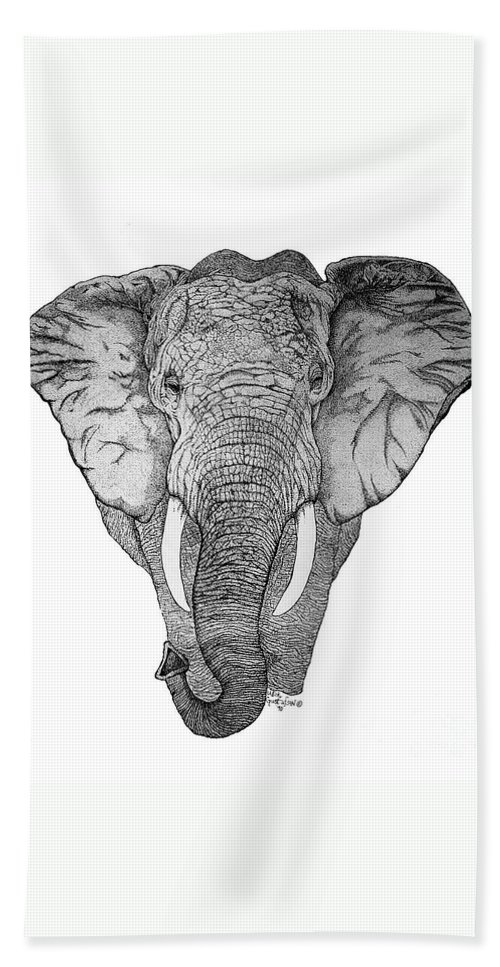 Elephant Hand Towel featuring the drawing African Elephant by Nick Gustafson