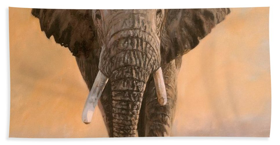 Elephant Hand Towel featuring the painting African Elephants by David Stribbling