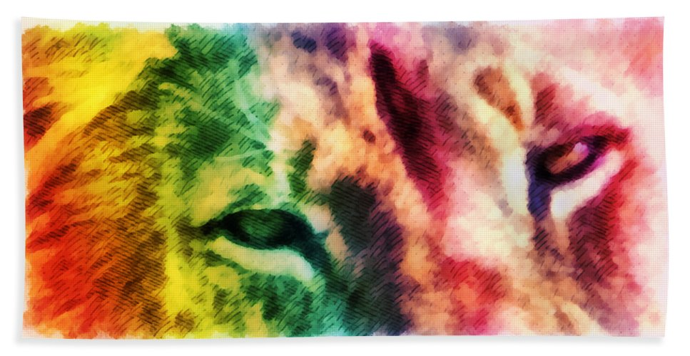 Lion Bath Sheet featuring the mixed media African Lion Eyes 2 by Angelina Vick