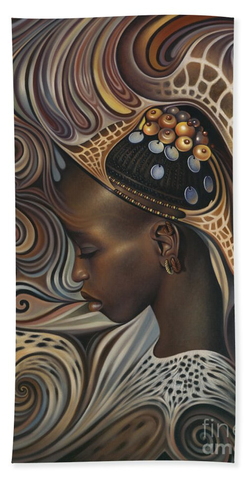 African Bath Towel featuring the painting African Spirits II by Ricardo Chavez-Mendez