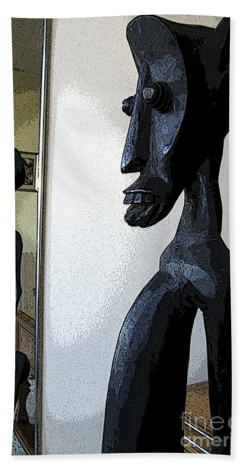 Wooden Hand Towel featuring the photograph African Statue Reflection by Nina Silver