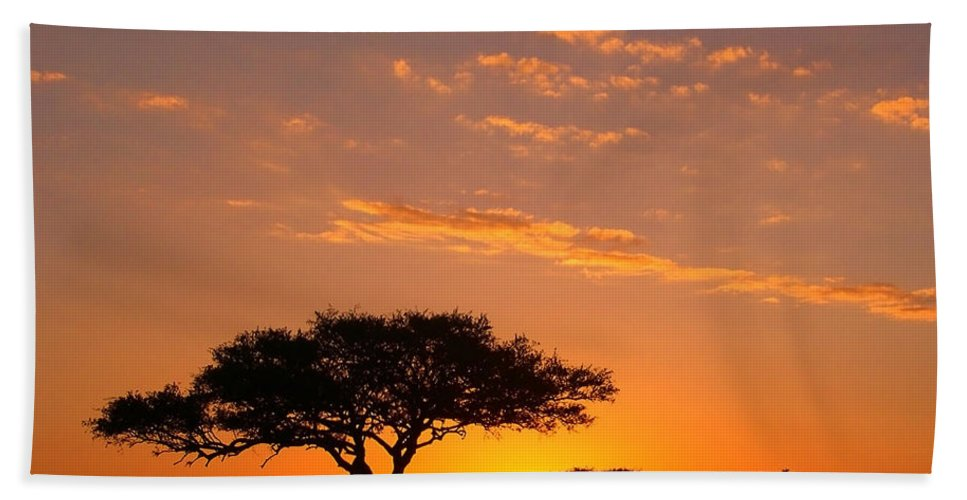 Africa Bath Towel featuring the photograph African Sunset by Sebastian Musial