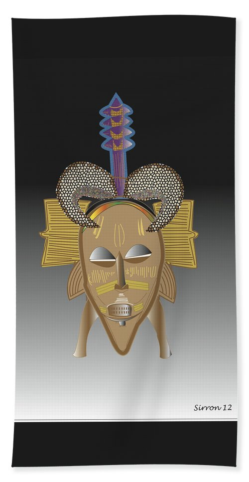 Mask Bath Sheet featuring the digital art African Tribal Ceremonial Mask by Sirron Kyles