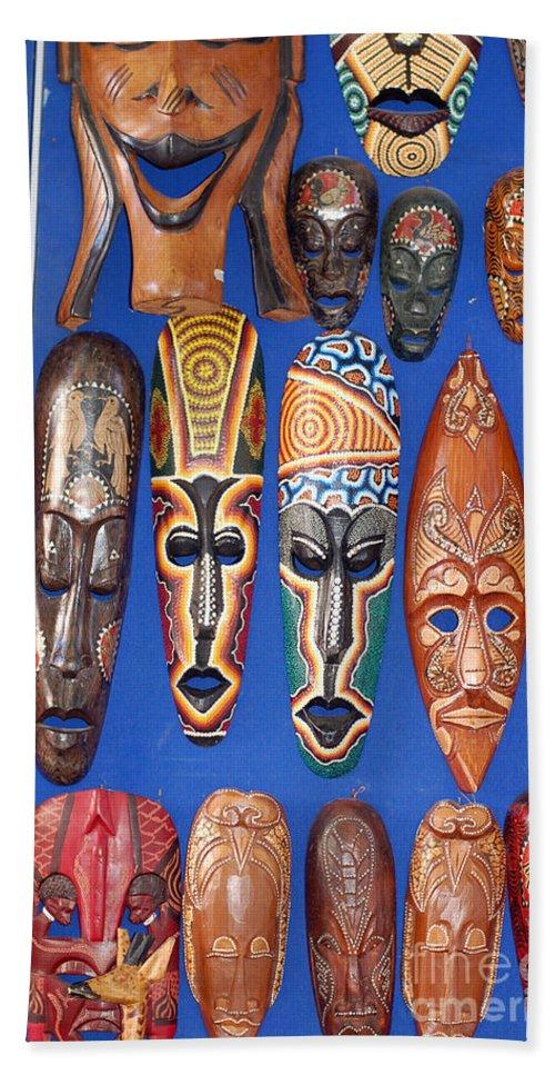 African Tribal Masks Bath Sheet featuring the digital art African Tribal Masks In Sidi Bou Said by Eva Kaufman