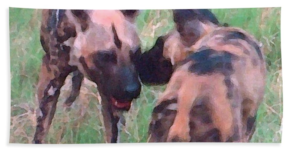 Africa Hand Towel featuring the painting African Wild Dogs by George Pedro