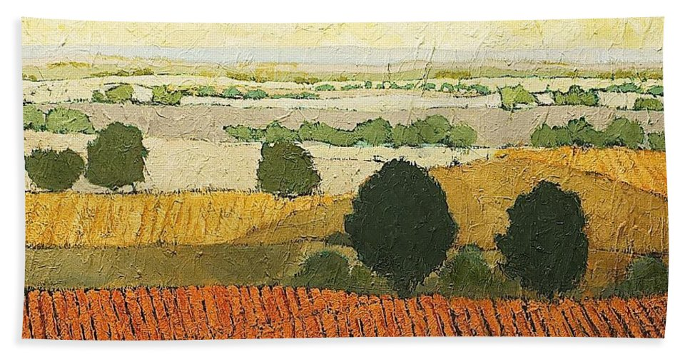Landscape Bath Towel featuring the painting After Harvest by Allan P Friedlander