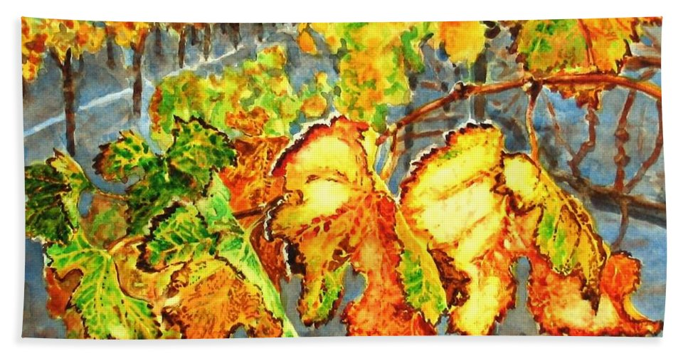 Vineyard Bath Towel featuring the painting After The Harvest by Karen Ilari