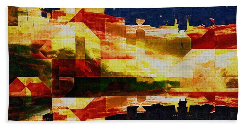 Abstract Bath Sheet featuring the painting After The Icebergs Melt by RC DeWinter