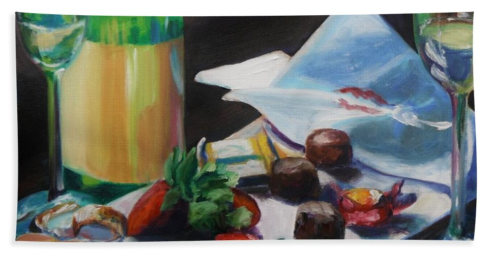 Wine Bath Sheet featuring the painting After The Party by Donna Tuten