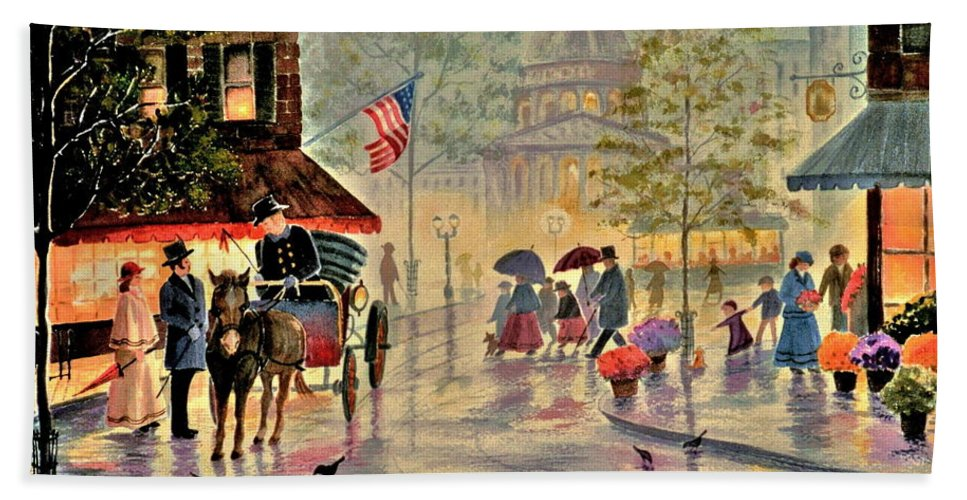 City Scene Bath Sheet featuring the painting After The Rain by Marilyn Smith