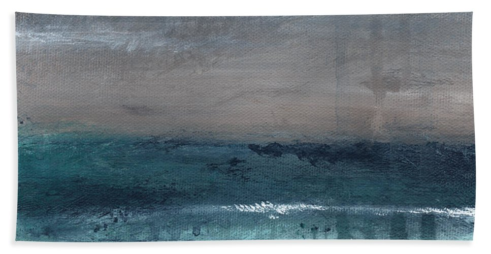 Abstract Landscape Bath Towel featuring the painting After The Storm- Abstract Beach Landscape by Linda Woods