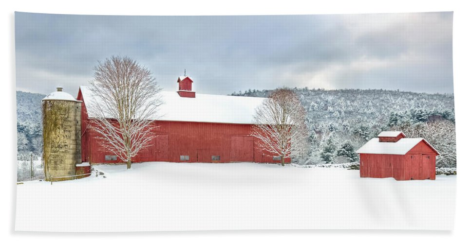 Old Red Barn Hand Towel featuring the photograph After The Storm by Bill Wakeley