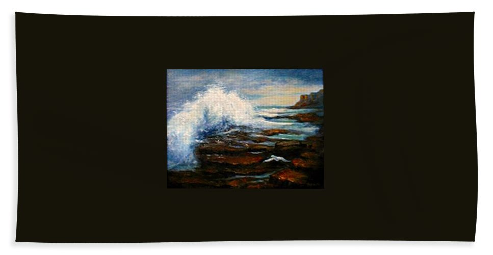 Seascape Hand Towel featuring the painting After The Storm by Gail Kirtz