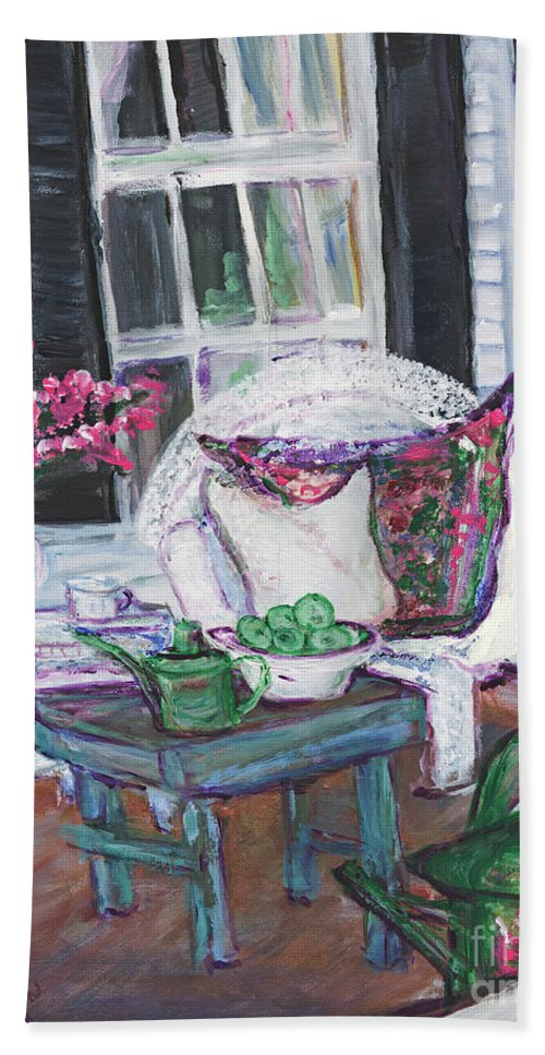Porch Bath Sheet featuring the painting Afternoon At Emmaline's Front Porch by Helena Bebirian