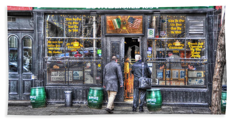 Mcsorley's Old Ale House Hand Towel featuring the photograph Afternoon At Mcsorley's by Randy Aveille