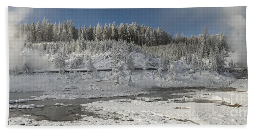 Pano Bath Sheet featuring the photograph Afternoon At Mud Volcano Area - Yellowstone National Park by Sandra Bronstein