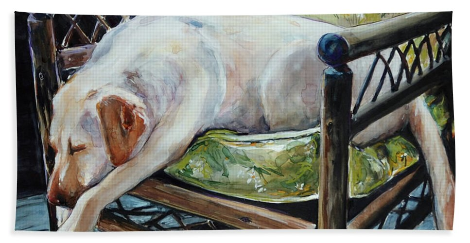 Yellow Labrador Retriever Hand Towel featuring the painting Afternoon Nap by Molly Poole