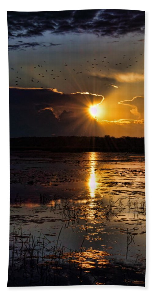 Sunset Bath Sheet featuring the photograph Late Afternoon Reflection by Dale Kauzlaric