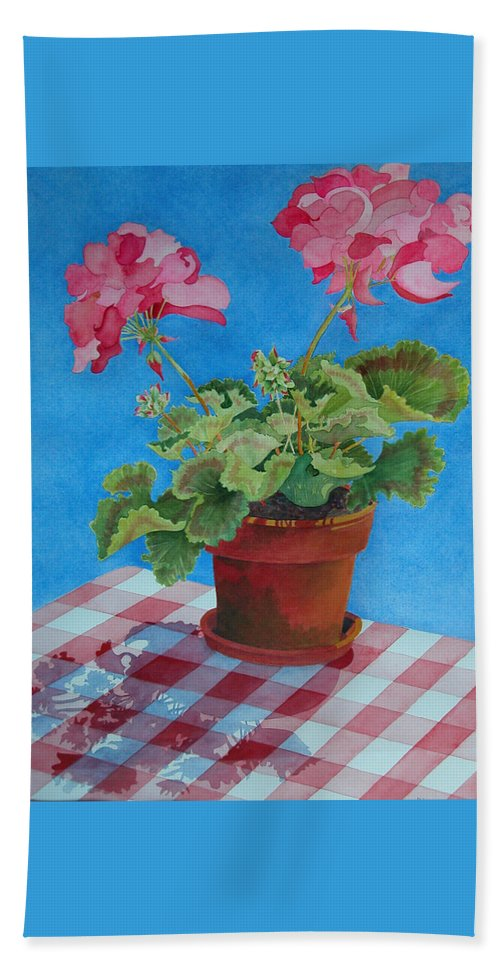 Floral. Duvet Hand Towel featuring the painting Afternoon Shadows by Mary Ellen Mueller Legault
