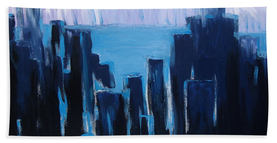 City Painting Bath Sheet featuring the painting Afternoon Skyline by Christine Cobden