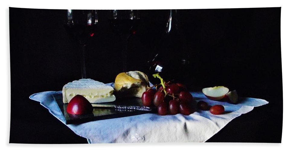 Red Wine Hand Towel featuring the photograph Afternoon Snack by Michelle Welles