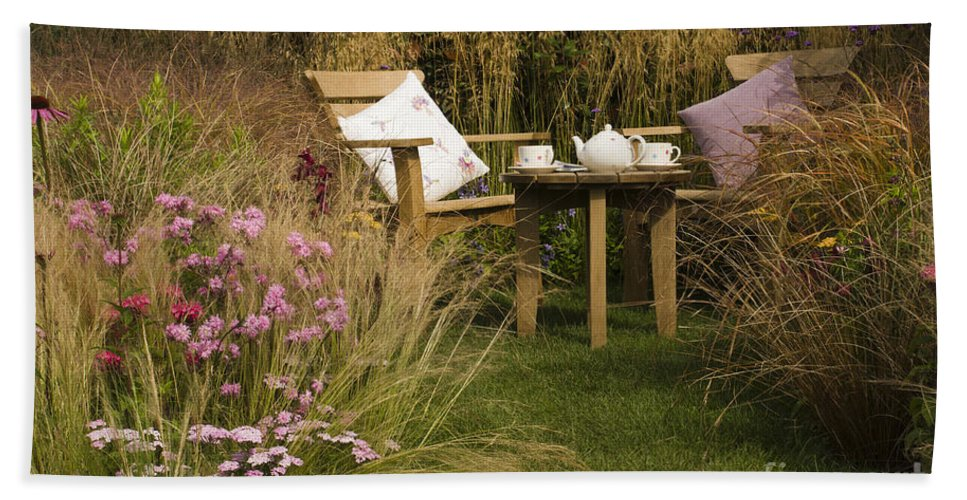 Chair Bath Sheet featuring the photograph Afternoon Tea by Anne Gilbert