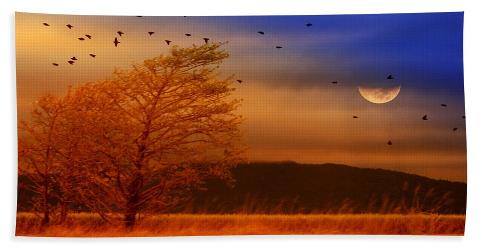 Landscape Bath Sheet featuring the photograph Against the Wind by Holly Kempe