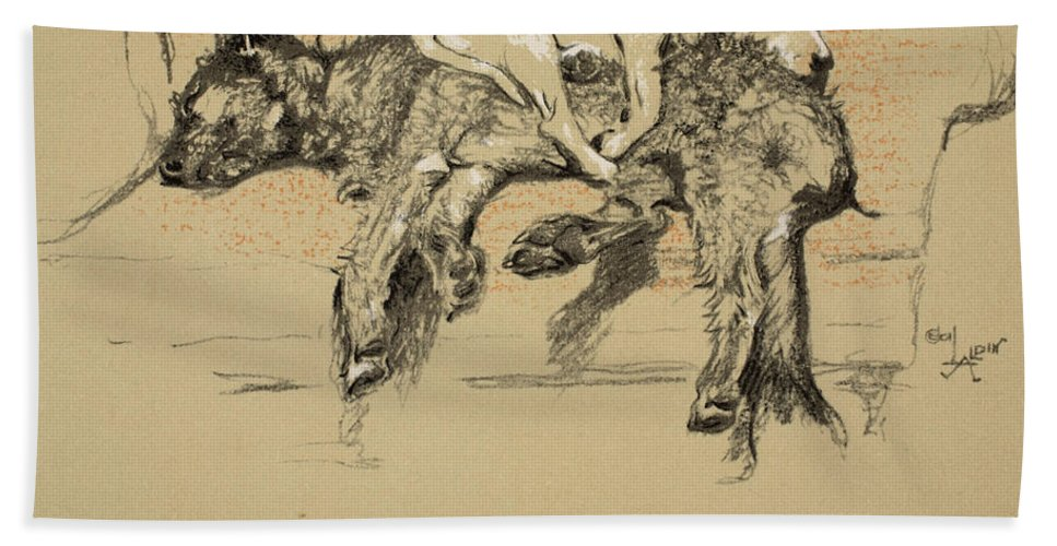 Dogs Hand Towel featuring the painting Agglomeration by Cecil Charles Windsor Aldin
