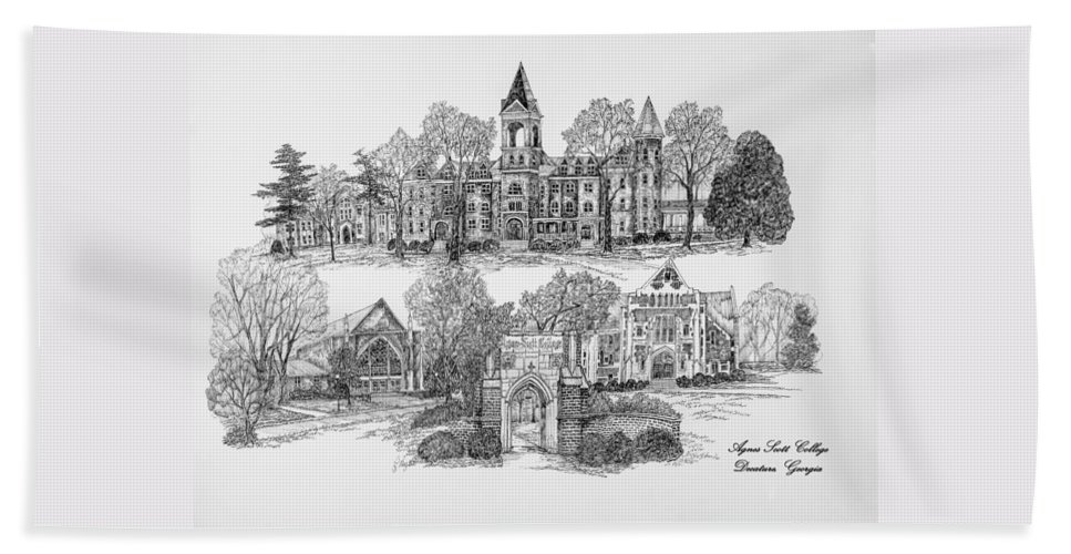 Illustrations Hand Towel featuring the digital art Agnes Scott College by Jessica Bryant