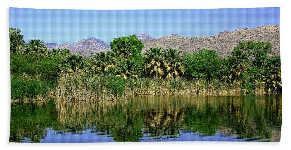 Oasis Hand Towel featuring the photograph Agua Caliente by Joe Kozlowski